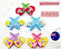 5PAIR Kid Girl Children Disney Ariel Elsa Rapunzel Princess hair accessory clip