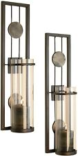 2 Set Modern Antique-Style Metal Decorative Wall Candle Sconces for Home Decor