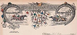 RARE- COLOR Litho Letterhead - Horse Racing 1905 Flynn Printer Programs & Colors
