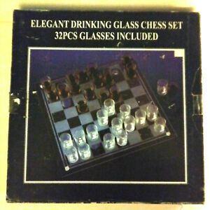 Traditional Glass Chess Checkers Set Drinking Game Glass Pieces/Board Wine Party