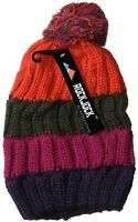 WOMENS LADIES CHUNKY STRIPED CABLE KNITTED BEANIE HAT WITH POM POM - ORANGE PINK