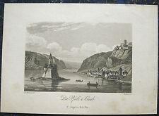 KAUB mit Pfalz (Burg Pfalzgrafenstein). Orig. Aquatinta, DIELMANN / BODMER, 1834