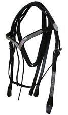 Full Western Show Leather Bridle Black V Shape Silver Browband & Split Reins