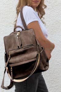 Dark brown multifunction PU backpack