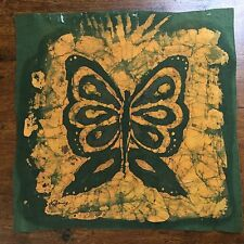 Vintage Mid Century Batik Butterfly Painting Signed Lilliana Young Art Textile
