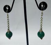 Asian Ethnic Sterling silver earring Handmade  Jade stone Asian jewelry DM1