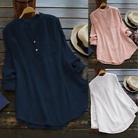 Oversized Womens V Neck Casual Shirt Long Sleeve Cotton Linen T-Shirt Top Blouse