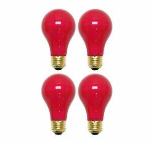 Sterl Lighting Pack of 4 A19 Ceramic Red Incandescent Light Bulb 40W/120V E26