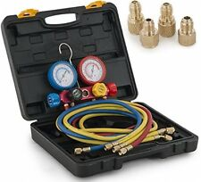Arksen 4Valve Manifold Gauge, Hi/Low Adapters, Brass Hvac A/C, W/ Carrying Case