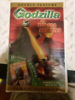 Godzilla Vs. The Sea Monster Vhs Clamshell 2001 Bonus Movie Godzilla Vs. Megalon