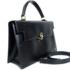 Auth Vintage Roberta di Camerino Black Leather Hand Bag Purse w/Shoulder Strap I
