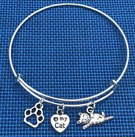 3 Double Sided Silver Cat charms Expandable Bangle Bracelet