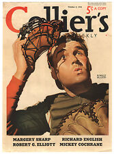 Rare Orig VTG 1938 Ronald McLeod Baseball Colliers Magazine Cover Only Art Print