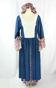 Vtg 1970's Colonial Dress + Hat Set Costume Red White Blue Floral Hand Made M L
