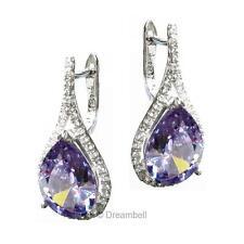 2x Sterling Silver Teardrop Tanzanite Cz Crystal Leverback Earring Set RE36-539