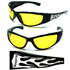 Night Driving Mens Choppers Bikers Sports Motocycle Wrap Sunglasses - Yellow C19