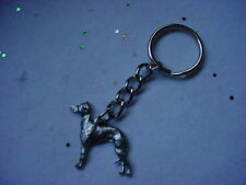 Italian Greyhound Dog Pewter Silver Keychain Christmas ornament Key Ring puppy