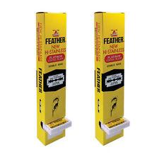 200 Blades Feather Razor NEW HI-STAINLESS Double edge Platinum coated shaving