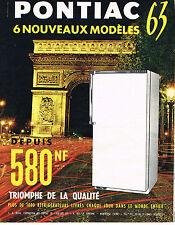 PUBLICITE ADVERTISING   1962   PONTIAC  réfrigérateur