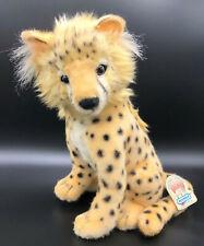 "Hansa 2001 Cheetah Cub Sitting 11.5"" Plush Toy Stuffed Animal Realistic Spots"