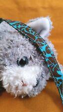 Fabric Cat Collar Handmade - Brown & Teal Damask Pattern. Kitty Chic