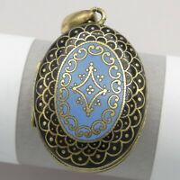 Antique Victorian Gold Filled GF Blue Black Enamel Champleve Locket Pendant