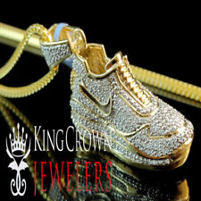 Men's New 10k Yellow Gold On Sterling Silver Shoe Sneaker Real Diamond Necklace