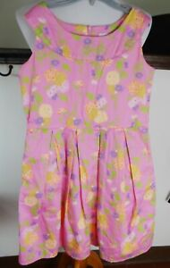 AMERICAN GIRL Girl's Size 12 lined floral cotton dress, pleated, pockets