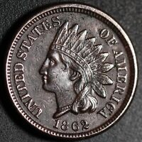 1862 INDIAN HEAD CENT - AU UNC Details - With DIE FILE MARKS BY EAR *SNOW-10*
