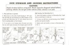 CHEVROLET 1957 Passenger Car Jack Stowage & Jacking Instructions #3737430