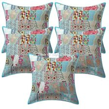 Indian Cushion Covers 60cm x 60cm Turquoise Patchwork Cotton Hippie Set Of 5