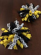 "2 Bumble Bee Korker Pigtails Hair Bows3 1/2""  Lot of 2 Girl Yellow, Zebra Print"