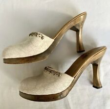 Calleen Cordero white Leather Studded Mules Platform Clogs 9.5