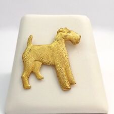 Gold Vermeil Over Sterling Silver Welsh Airedale Terrier Dog Brooch Pin 9.8 gr