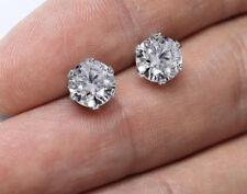 Genuine 925 Crystal Sterling Silver Cubic Zirconia Stud Earrings Round Men Women