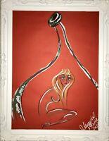 Margarita Bonke Malerei PAINTING erotic EROTIK FRAU WOMEN A3 art Rot Red Nu Akt