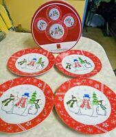 "4 Holiday Magic Snowman 8"" Plates NIB"