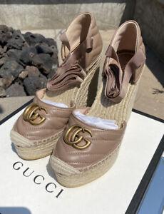 Brand New Authentic Women's Gucci Pilar Marmont Logo Wedge Espadrilles Size 41