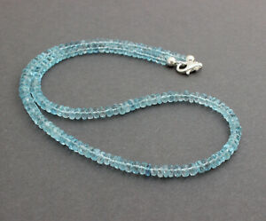 Exclusive Aquamarine Chain Gemstone Faceted 1A Quality Light Ladies 18 1/2in