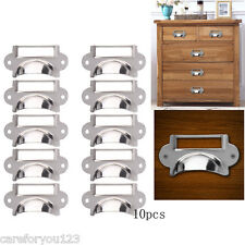 10X Stainless Brass Drawer Cupboard Filing Cabinet Frame Label Holder Handle