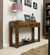 Baumhaus Shiro Walnut Console Table with 2 Drawers - Assembled - Solid Walnut