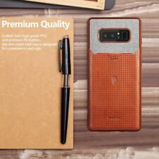 Case For Samsung Galaxy Note 8 Poetic【Nubuck】Credit Card Slot Pull-Tab Brown
