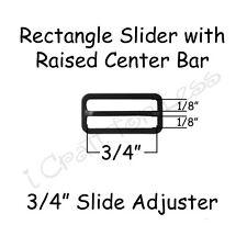 """25 Slide Adjusters / Tri Glides for Bow Tie Adjustable Straps - 3/4"""" Black Metal"""