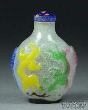 Chinese Multi-Color Peking Glass Snuff Bottle, Chilongs & Lingzhi, 20th Century