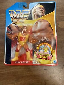 WWF Hulk Hogan Gorilla Press Slam Wrestling Figure on Card Vintage 1990 Hasbro