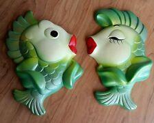 VINTAGE RETRO Miller Studio Inc. CHALK WARE 1967 Kissing FISH pair