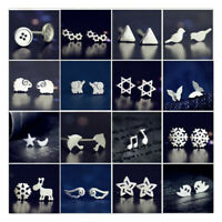 Wholesale  Silver Earrings New Fashion Women Ear stud Cute Jewelry Gift's