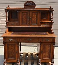Antique Victorian Walnut Writing Desk Sliding Leather Top Burl Wood Inlays