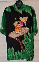 Tori Richard Mens Hawaiian Aloha Martini Tropical Button Shirt Size Medium