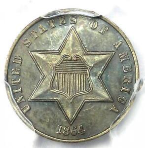 1864 Three Cent Silver Coin 3CS - PCGS UNC Details (MS) - Rare Civil War Date!